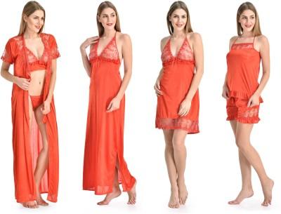 Fashion Zilla Women's Nighty with Robe, Top and Capri