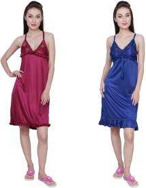Simrit Women's Nighty(Purple, Blue)