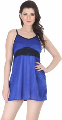 Belle Nuits Women's Nighty with Robe, Top and Capri(Dark Blue)