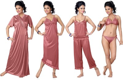 Go Glam Womens Nighty with Robe, Top and Capri