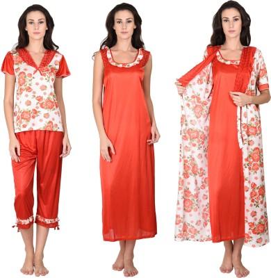 Go Glam Women's Nighty with Robe, Top and Capri