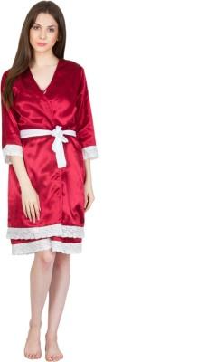 Patrorna Women's Nighty with Robe(Red) at flipkart