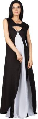 Patrorna Women's Nighty with Robe(White, Black) at flipkart
