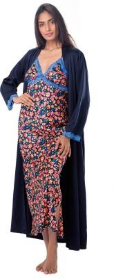 PrettySecrets Women's Nighty with Robe(Blue) at flipkart