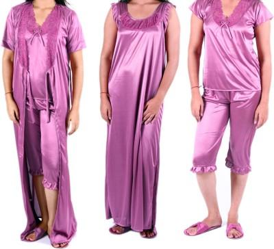Modishera Women's Nighty with Robe, Top and Capri