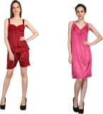 Crazeis Women's Nighty (Red, Pink)