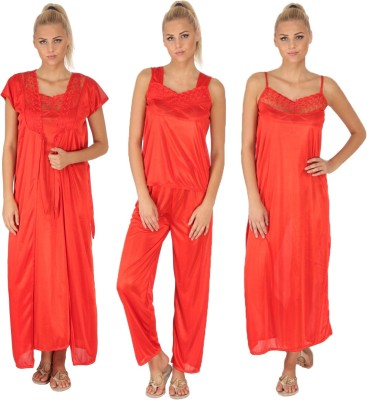 SLS Women's Nighty with Robe, Top and Capri