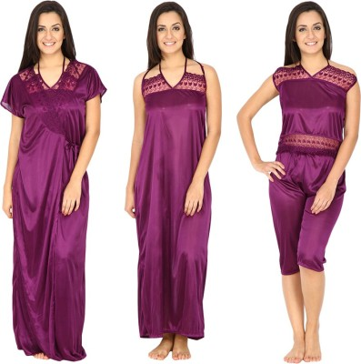 Secret Wish Women's Nighty with Robe, Top and Capri