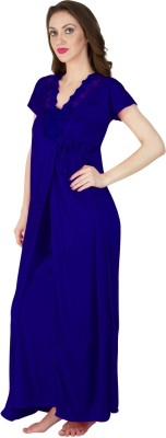 Bombshell Women's Nighty with Robe(Blue) at flipkart