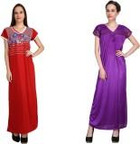 Crazeis Women's Nighty (Red, Purple)