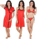 Fasense Women's Night Dress (Red)