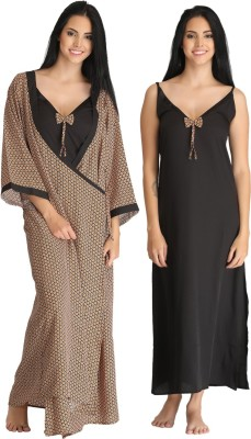 Clovia Women's Nighty with Robe(Black) at flipkart