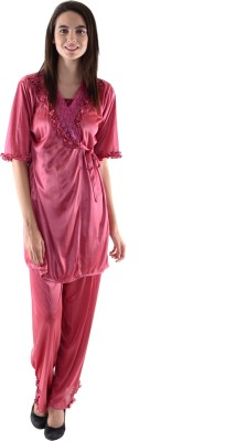Dillidil Women's Nighty with Robe, Top and Capri