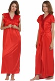 Miavii Women's Nighty with Robe (Red)