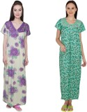 Simrit Women's Nighty (Purple, Green)