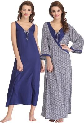Clovia Women's Nighty with Robe(Blue) at flipkart