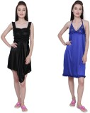 Simrit Women's Nighty (Black, Blue)