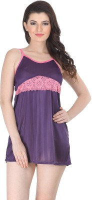 Belle Nuits Women's Nighty with Robe, Top and Capri(Purple)