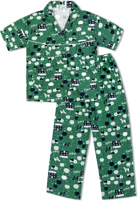 Green Apple Girl's Printed Dark Green Top & Pyjama Set