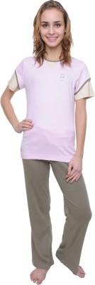 Wemei Women's Solid Pink, Grey Top & Pyjama Set