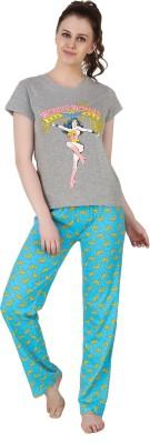Big Pout Women's Printed Grey Top & Pyjama Set