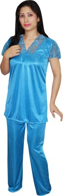 Indiatrendzs Women's Solid Light Blue Top & Pyjama Set