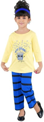 Bella & Brat Girl's Printed Yellow, Blue Top & Pyjama Set