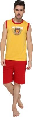 Valentine Men's Printed Yellow Top & Shorts Set
