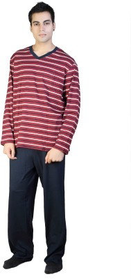 F FASHIONSTYLUS Men's Striped Red, White Top & Pyjama Set