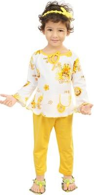 Koolkids Girl's Printed Blue Top & Pyjama Set