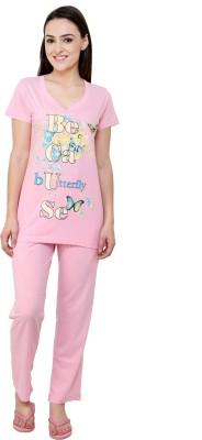 TAB91 Because Print Women's Printed Pink Top & Pyjama Set