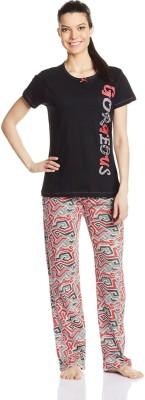 July Comfy Cotton Designer Two Piece Women's Printed Black, Red Top & Pyjama Set