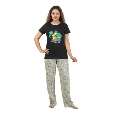 Sunwin Women's Printed Black, Grey Top & Pyjama Set