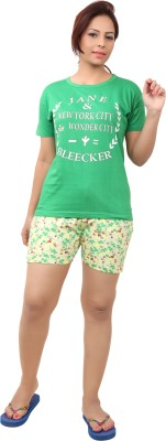 Div Women's Printed Light Green Top & Shorts Set