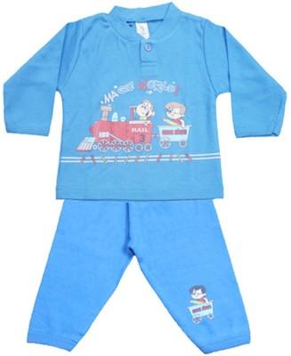 Mankoose Baby Boy's Printed Blue Top & Pyjama Set