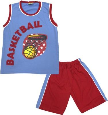 Kid's Care Boy's Printed Light Blue Top & Shorts Set
