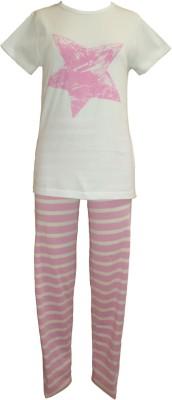 Sweet Dreams Girl's Striped Pink Top & Pyjama Set