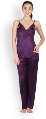 Oleva Women's Self Design Purple Top & Pyjama Set