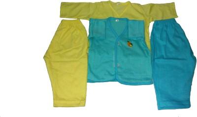 Thakkar Baby Boy's Solid Yellow, Blue Top & Pyjama Set