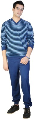 F FASHIONSTYLUS Men's Solid Blue Top & Pyjama Set