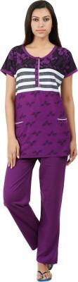 Informal Wear Women's Floral Print Purple Top & Pyjama Set