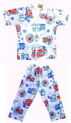 Smilee Boy's Printed Blue Top & Pyjama Set