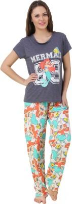 Big Pout Women's Printed Multicolor Top & Pyjama Set