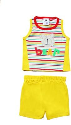 Munna Munni Kids Apparel Baby Boy's Self Design Yellow, Red Top & Shorts Set