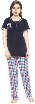 Melodie Women's Printed Blue, Multicolor Top & Pyjama Set