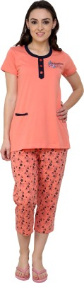 Glasgow Women's Printed Orange Top & Capri Set