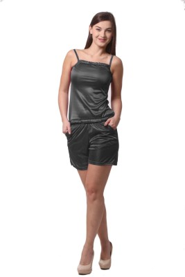 Being Fab Women,s Solid Black Top & Shorts Set