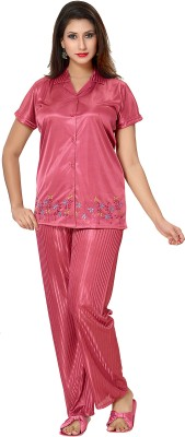 Go Glam Womens Solid Pink Top & Pyjama S...