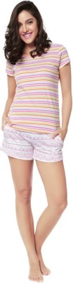 Mystere Paris Women's Printed Multicolor Top & Shorts Set