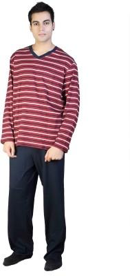F Fashion Stylus Men's Striped Red, White Top & Pyjama Set
